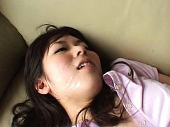 Jav Asian doll has sperm on face from penis that f...
