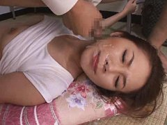 Jav Asian doll is fondled over blouse while is str...