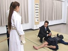 Jav Asian nurse is held by throat by samurai after...