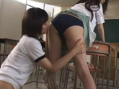 Jav Asian cupcake fondles dame ass over stockings...