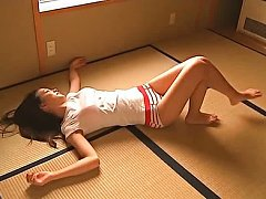 Rika Adachi Asian busty in t-shirt and shorts is p...
