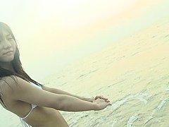 Aki Takajo Asian in bath suit loves feeling ocean...