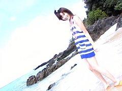 Aira Mihana Asian with bath suit and beads plays i...