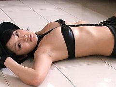 Asami Tada Asian is hot in leather outfit and fish...