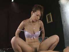 Jav Asian chick with exposed and oiled boobs rides...
