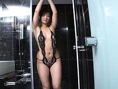 Yuri Murakami Asian in lace lingerie shows sexy ba...