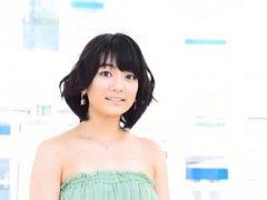 Suzuka Morita Asian in sexy green dress is happy t...
