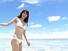 Yurina Takiguchi Asian doll in white bath suit is...