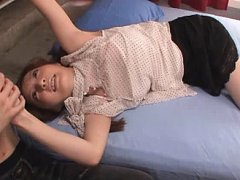 Jav Asian babe is undressed and fucked after a gla...