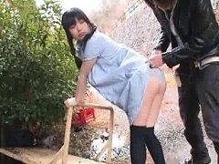 Jav Asian chick in long socks gives blowjob to hun...
