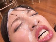 Jav Asian babe in uniform can not open eyes under...