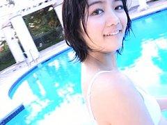 Suzuka Morita Asian in white bath suit is happy to...