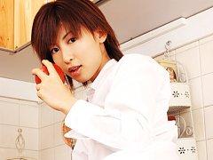 Mariko Okubo posing in her leopard print lingerie...