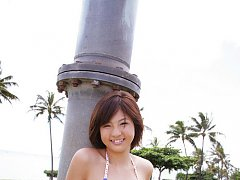 Short haired asian babe has small perky tits in a...