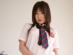 Sexy asian school girl slowly gets undressed and s...
