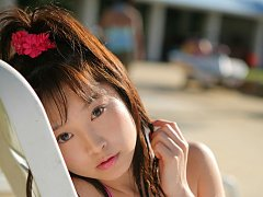Angelic asian beauty looks adorable in her pink la...