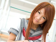 Mai Hoshino Asian in school uniform shows ass unde...