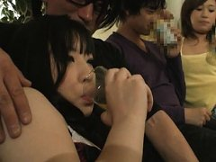 Jav Asian doll sits with ass up next to babe undre...