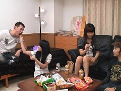 Jav Asian doll is kissed by dude next to other hor...