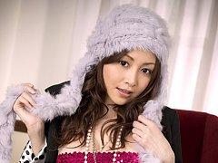 Anri Sugihara Asian in fishnet stockings fondles h...
