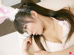 Ayumi Hayama Asian has big tits in fluffy bunny ou...