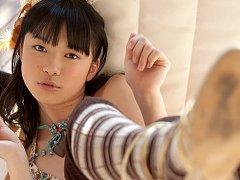 Tomoe Yamanaka Asian in long socks and thong shows...
