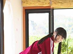 Yuri Hamada Asian slowly takes her sports equipmen...