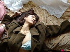 Asana Kawai Asian puts army coat on her big bra in...