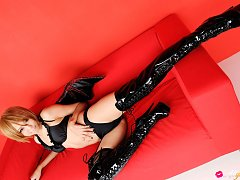 Sayuri Ono Asian in long boots is batwoman ready f...