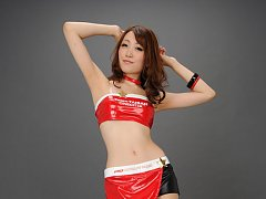 Yukina Masaki Asian in red and black latex plays w...