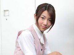 Naoho Ichihashi Asian in tight skirt is a very att...