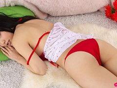 Yuri Hamada Asian with big assets in red lingerie...