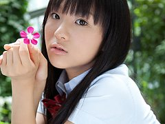 Miho Morita Asian in school uniform loves flowers...
