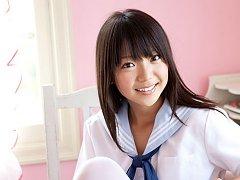 Fuuka Nishihama Asian takes school uniform off pie...