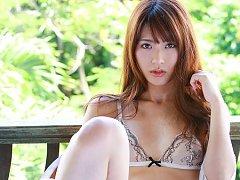 Saki Yamaguchi Asian puts shower water on her big...