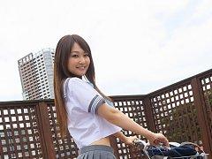 Misaki Nito Asian in school uniform goes to classe...