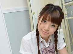 Mizuho Shiraishi Asian with sexy pigtails shows as...