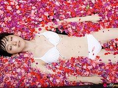 Airi Suzuki Asian in bath suit enjoys petals all o...