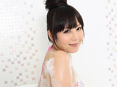 Maria Akamine Asian washes and soaps her body over...
