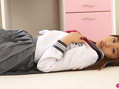 Satsuki Konichi Asian in uniform shows that she is...