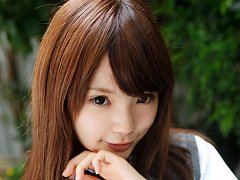 Manami Sato Asian in short uniform skirt spends ti...