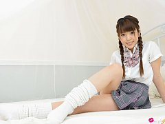 Mizuho Shiraishi Asian with pigtails is so playful...