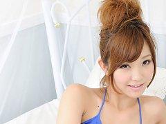 Ichika Nishimura Asian in blue bath suit has such...