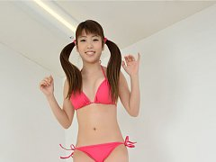 Mizuho Shiraishi Asian with pink bath suit and lon...