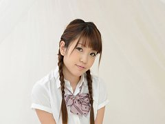Mizuho Shiraishi Asian with pigtails and uniform s...
