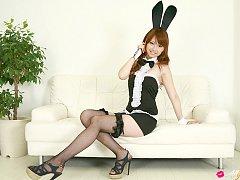 Chinatsu Sasaki Asian bunny has sexy legs in fishn...