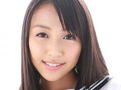 Miyu Watanabe Asian in school uniform loves rubbin...
