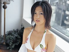 Misako Yasuda Asian shows big cans in various outf...
