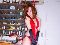 Cute little asian devil sizzles in her lingerie an...