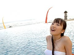Miyuu Sawai cute swimsuit model in her white bathi...